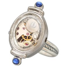 Fashion Jewelry, Steampunk Ring, Victorian Steampunk, Sterling Silver Ring, Watch Ring