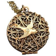 Bird Necklace, Filigree Locket, Compass Necklace, Working Compass Bird Locket