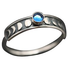 Sterling Silver Ring, Moon Ring, Moon Phases, Unique Ring, Sapphire