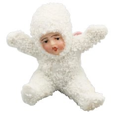 EXTREMELY RARE German Snow Baby Angel, Christmas Ornament Vintage, Bisque Snowbaby