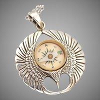 Sterling Silver Eagle, Bird Necklace, Working Compass Necklace, Phoenix, Men, Unisex