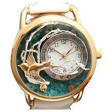 Unique Watch, Bird, Ladies Wrist Watch, Wrist Watch Women, Sterling Silver Message