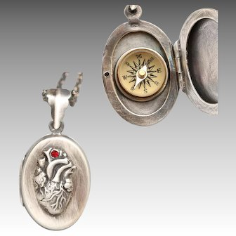 Sterling Silver Locket, Follow Your Heart, Anatomical Heart, Working Compass Necklace, Photo Locket