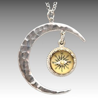 Sterling Silver Necklace, Silver Moon Necklace, Galaxy, Celestial, Compass Necklace