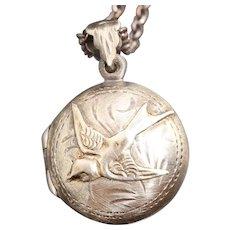 Bird Locket, Sterling Silver Locket, Working Compass, Photo Locket, Bird Necklace, Locket Jewelry