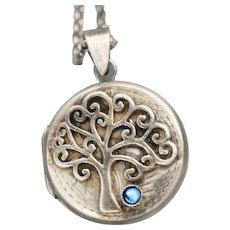 Tree Of Life Necklace, Working Compass, Photo Locket, Tree Of Life Locket, Blue Sapphire