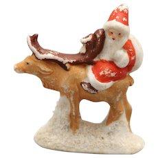 Vintage Santa On Reindeer, German Snow Baby, Snow Babies, Snowbaby, Vintage Hertwig Santa