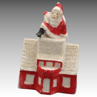 Vintage Santa Going Down Chimney Of Snowed House, Vintage Snow Baby, Snowbabies, Snowbaby