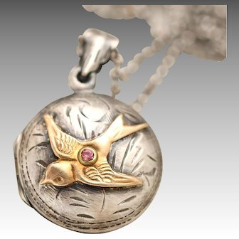 Victorian Style Locket, Vintage Inspired, Swallow Bird Necklace, Sterling Silver Locket