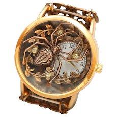 Gothic Watch, Ladies Wrist Watch, Unique Watch, Art Nouveau Style, Spider