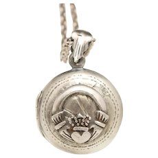 Sterling Silver Claddagh Locket Necklace, Sterling Silver Locket, Silver Compass Necklace, Photo Locket