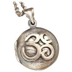 Sterling Silver Locket, OM Symbol, OM Necklace, Silver Compass Necklace