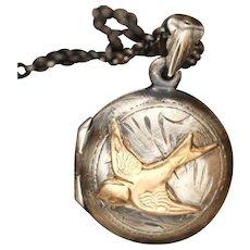 Gold Bird Necklace, Sterling Silver Locket, Working Compass, Photo Locket