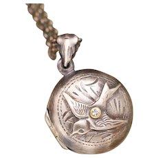 Antique Silver Finish Bird Locket, Sterling Silver Locket, Silver Compass Necklace