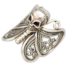Butterfly Ring, Skull Ring, Sterling Silver Ring, Halloween Jewelry, Gothic Ring, Biker, Tattoo Ring