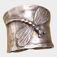 Sterling Silver Dragonfly Ring, Wide Band Ring, Boho Ring