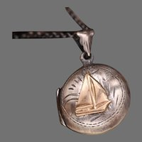 Sailboat Necklace, Nautical Jewelry, Sterling Silver Locket, Photo Locket