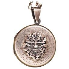 Silver Photo Locket, Round Locket, Green Man Face, Compass Necklace