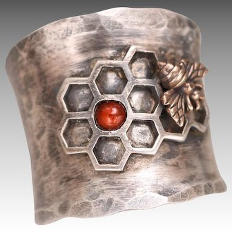 Sterling Silver Bee Ring, Honeycomb Ring, Baltic Amber Ring