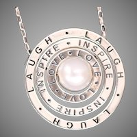 Laugh, Inspire, Love, Inspirational Necklace, Pearl Necklace, Sterling Silver Necklace