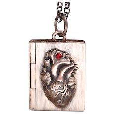 Sterling Silver Book Locket, Picture Locket, Heart Locket, My Heart Is Like An Open Book, Locket Necklace