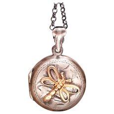 Dragonfly Locket, Sterling Silver Locket, Silver Compass Necklace, Photo Locket, Sterling Dragonfly Necklace