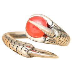 Sterling Silver Pearl Ring, Bird Talon Ring, Elegant Gothic, Mens Ring, Unisex Ring, Claw Ring