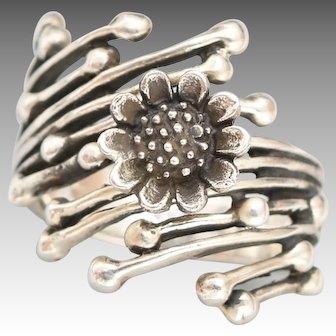Sunflower Ring, Boho Ring, Sterling Silver Flower Ring