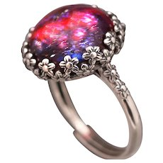 Sterling Silver Flower Ring, Dragons Breath Opal Ring, Mexican Opal