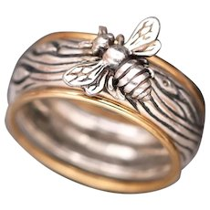 Sterling Silver Bee Ring, Honey Bee, Stacking Rings, Silver And Gold