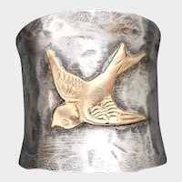 Sterling Silver Thumb Ring, Silver Bird Ring, Wide Band, Hammered Silver Ring, Gold Bird Ring