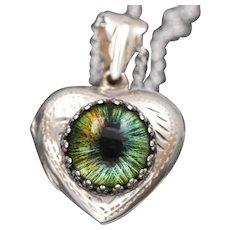 Sterling Silver Heart Locket, Silver Photo Locket, Evil Eye Jewelry