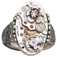 Sterling Silver Flower Ring, Steampunk Ring, Victorian Style Vintage Watch Ring, Birthstone Ring
