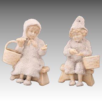 RARE Galluba & Hoffman Snowbabies, Matching Boy & Girl Snowed Dolls, Antique Snow Baby