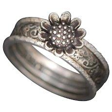 Sterling Silver Ring, Stacking Rings, Sunflower Ring, Flower Ring