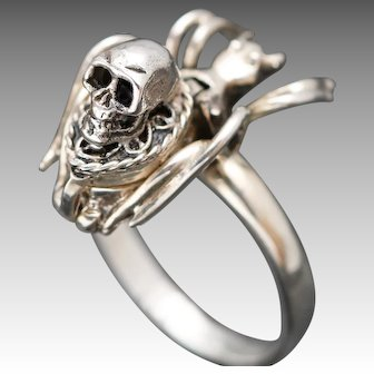 Sterling Silver Poison Ring, Silver Spider Ring, Skull Ring
