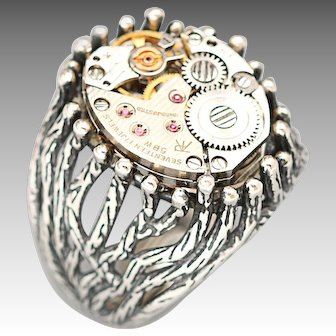 Sterling Silver Mens Ring, Steampunk Ring, Men or Women, Steampunk Style