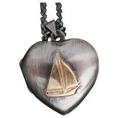Sterling Silver Heart Locket, Sailboat Necklace, Nautical Jewelry, Working Compass