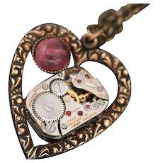 Steampunk Heart Necklace, Amethyst Stone, February Birthstone, Heart Pendant
