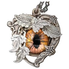 Silver Heart Necklace, Victorian Style Jewelry, Steampunk Necklace, Eye Pendant, I Love You, Eye Love You