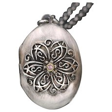 Sterling Silver Flower Locket, Victorian Vintage Style, Photo Locket, Working Compass Necklace