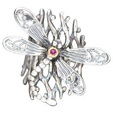 Sterling Silver Dragonfly Ring, Vintage Art Nouveau Style Ring, Twig Ring With Large Filigree Dragonfly