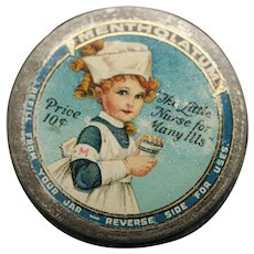 Vintage Mentholatum Tin, Colorful Graphics With Little Girl Nurse, Ointment Medicine, Early 1900's