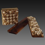 55% OFF Vintage Imitation Pearl/Rhinestone Pill box and Comb set