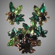 Vintage Rhinestone Leaf/brooch/clip Earrings