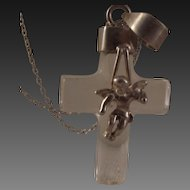 45% OFF Vintage Crystal Cherub Sterling Cross pendant necklace