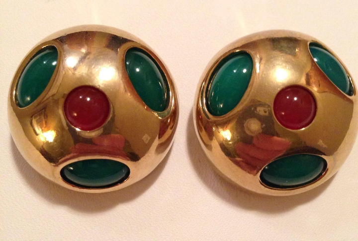 9a85895307246 CLEARANCE STORE WIDE Hattie Carnegie Signed Green Red Cabochon Clip Earrings