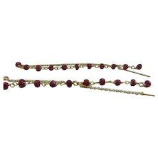 50% OFF  Handmade Garnet Bead Threader Earrings