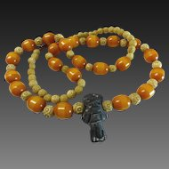 50 % OFF 800 Silver Butterscotch Amber Bakelite Tribal Necklace 30""