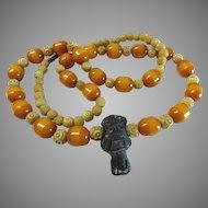 "800 Silver Butterscotch Amber Bakelite Tribal Necklace 30"""